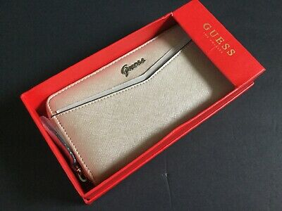 Guess Wallet Gleeson SLG Z7079599 Champagne Woman Clutch Zip around Gift Box New | eBay