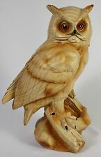 OWL WOOD LIKE CARVING Figurine Statue Faux NEW Wildlife Bird Barred Horned Snowy