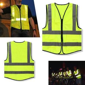 1x-Neon-Green-Safety-Vest-Reflective-Strips-Security-Waistcoat-Warp-Knitting-J