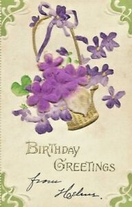 Antique-Vintage-Post-Card-Embossed-Silk-Violets-Basket-Birthday-Greeting-1906