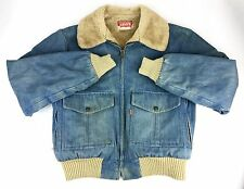 Men's Vintage Levis Orange Label Faux Fur Jean Jacket Coat Usa Made Sz. Large