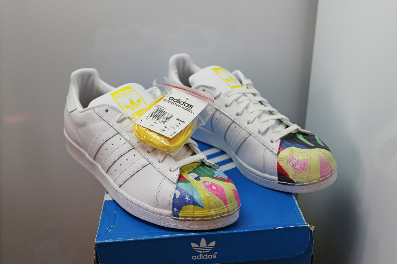 adidas Superstar Pharrell S83356 hommes Leather Shoes blanc Yellow Todd James NEW