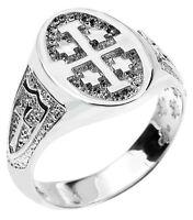 Fine Sterling Silver Jerusalem Cross Unisex Ring