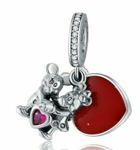 Disne-Minnie-amp-Mickey-With-Love-Charm-Silver-With-Red-Heart-Enamel-Charm