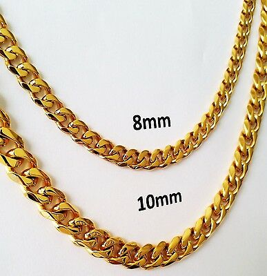 """18""""-30"""" MEN's Stainless Steel 8mm 10mm 24k Gold Plated Cuban Link Chain Necklace"""