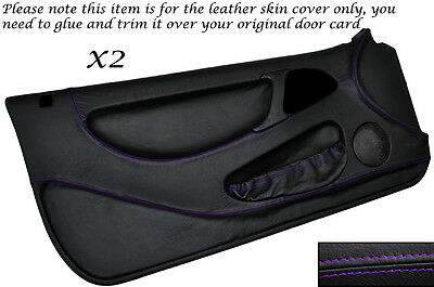 PURPLE STITCH 2X FULL DOOR CARD LEATHER SKIN COVERS FITS LOTUS ELAN M100 89-95