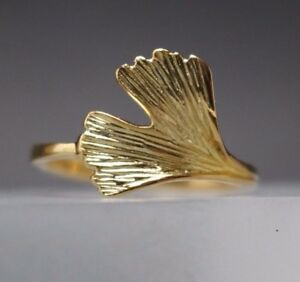 Damenring-Ginkgoblatt-Ginkgo-Gelbgold-925-Sterling-Silber-vergoldet-Ginko-Gold