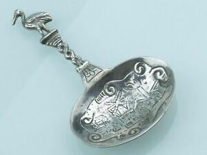110320 Storch Griff Ca 8,2cm Schweden Kleiner Silber LÖffel / ProbierlÖffel