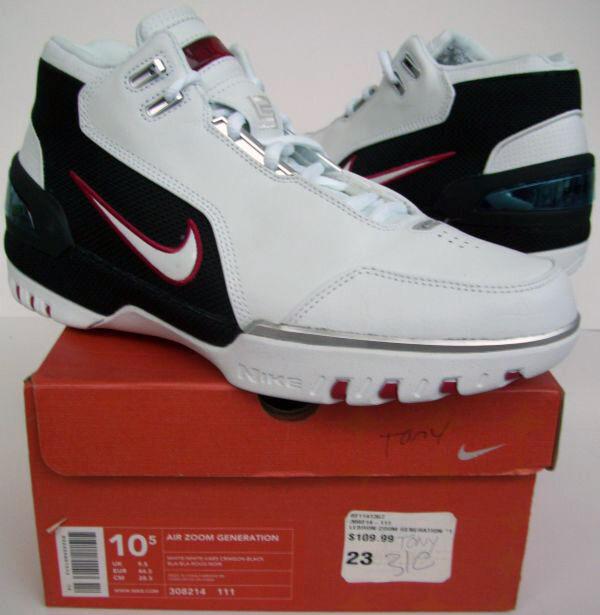 Nike AIR ZOOM GENERATION Lebron James 1st shoe AZG LJ23 w...Guaranteed Authentic