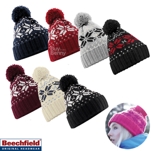 8bf24e03057 Herren-Accessoires Beechfield Fair Isle Snowstar Beanie Pom Hat Bobble  Winter Warm B456 Unisex