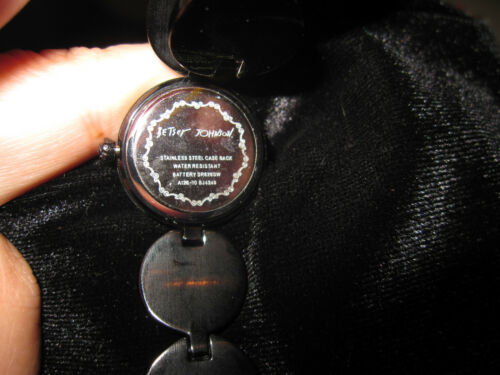 BETSEY JOHNSON BLACK BLING METAL BAND WATCH WITH HEART 2ND HAND