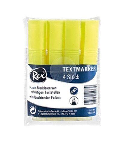 Rex Texmarker 1-4 mm Neonfarbe Gelb  für alle Papierarten 1x4 Stk Neu