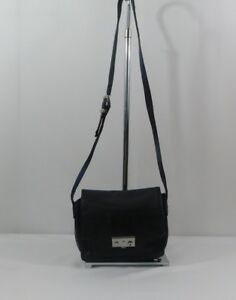 Details About Perlina New York Black Leather Crossbody Bag