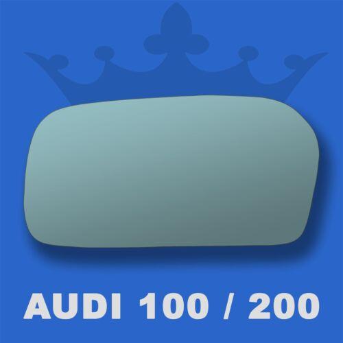Audi 100 200 91-93 Flat Blue Wing Door Mirror Glass For Left Passenger Side