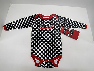 """12M and 18M /""""Case IH Cutie/"""" Creeper 6M Sizes: NB Red with White Polka Dots"""