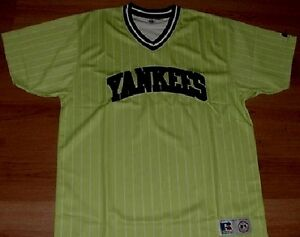 New-York-Yankees-Jersey-V-neck-Pullover-XL-Lime-Pinstripes-Embroidered-Logo-MLB
