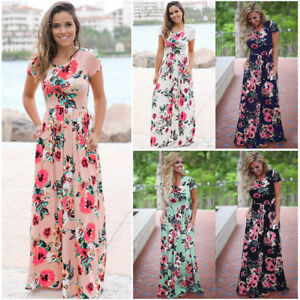 Women-Flower-Long-Maxi-Dress-Casual-Short-Sleeve-Summer-Holiday-Beach-Sundress