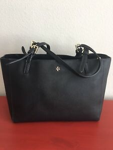 0679591bcf01 Image is loading Tory-Burch-Small-York-Buckle-Tote-Black-Saffiano-
