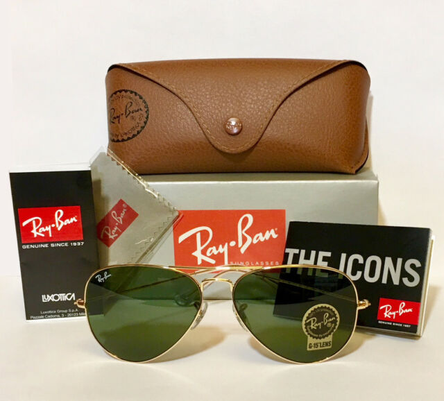 608c4c0e7 100% Guaranteed Genuine Ray Ban Aviator RB3025 L0205 Sunglasses Green 58mm  Lens