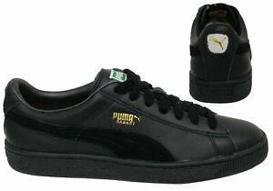 Puma-Cesta-Clasica-Suave-Cuero-Con-Cordones-Zapatillas-para-hombre-Negro-351912-25-B15B