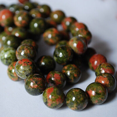 """16"""" Semi-Precious Gemstone Unakite Jasper Round Beads 4mm, 6mm, 8mm, 10mm"""