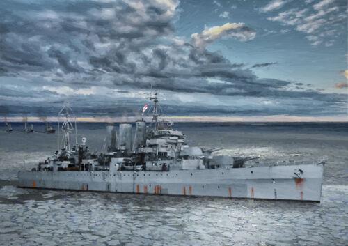 HMS Norfolk-Ártico convoyes Segunda Guerra Mundial-Edición Limitada Arte 25