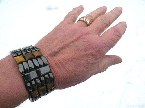 6 ROW Men/'s POWERHOUSE SERIES Magnetic Hematite Brown Tiger Eye Bracelet 6 row