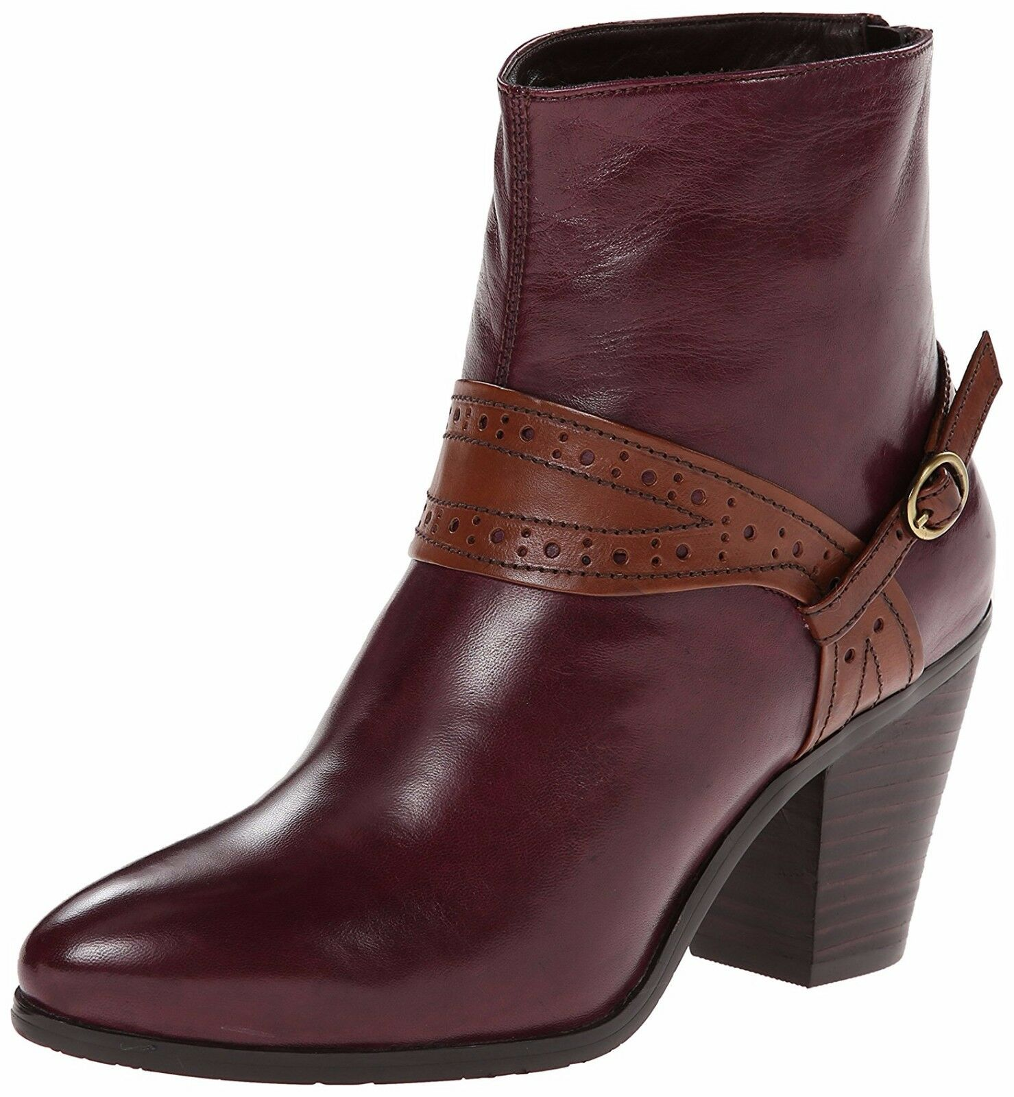EVERYBODY BY BZ MODA SHOES SACCARE BOOTIES HARNESS ANKLE BOOTS VINO NEW  230 9