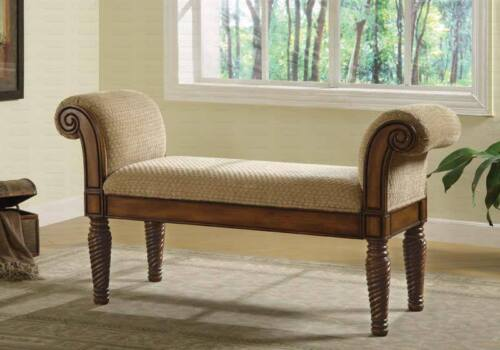 Elegant Upholstered Brown Bench with Rolled Arms by Coaster 100224