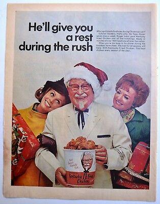 1968 Kentucky Fried Chicken Kfc Christmas Colonel Sanders Photo Vintage Print Ad Ebay