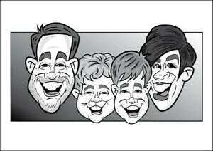 4 Person Digital Caricature From Photo - Monochrome - Digital File (JPEG)