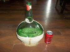 Vintage Bolla Italian Red Wine Wicker Wrapped Empty Green Glass Wine Bottle