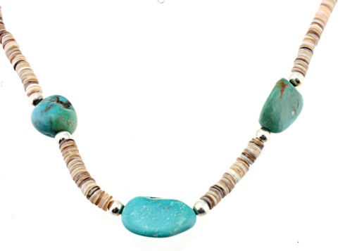 Details about  /Southwestern Sterling Silver Luana Heishi /& Turquoise Necklace