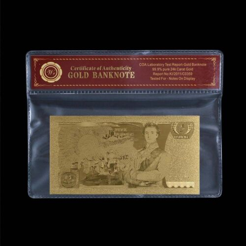 WR Rare Great British Old £5 Five Pound Note 24K Gold Foil Banknote In COA PACK