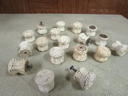 18 Vintage Unfinished Wicker Knobs Pull Cabinet Furniture with Hardware