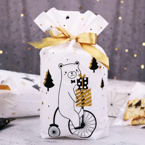 10pcs Christmas Sacks Reusable Drawstring Wrap Present Gift Party Bags Storage