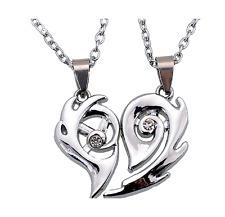 2pcs/Set  Heart Split Pendant Couple Necklace