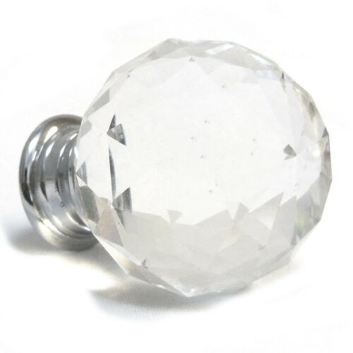 Modern Silver With Clear Faceted Glass Crystal Door Cupboard Knob 50mm Handle