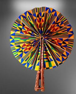 Kente Folding Leather Authentic Hand Fan Multicoloured African Fabrics