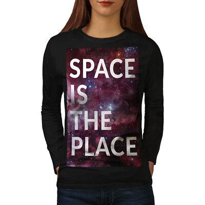 Sun Moon Day Night Space Women Long Sleeve T-shirt NEWWellcoda