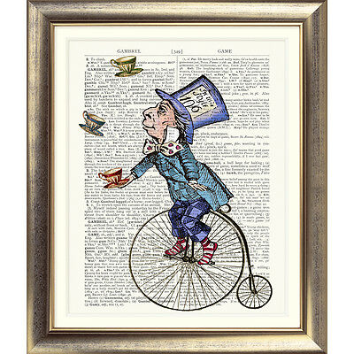 ART PRINT ORIGINAL ANTIQUE BOOK PAGE DICTIONARY Alice in Wonderland MAD HATTER