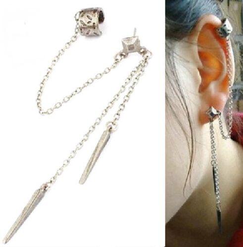 SPIKE Ohrstecker Stacheln Kette Ohrring Gothic Ohrklemme Ohrring 2 Farben NEU