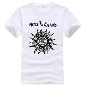 2017 New Alice In Chains Soleil Impression à Manches Courtes En Coton Noir T Shirt-afficher Le Titre D'origine Couleurs Fantaisie