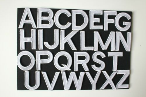 White Alphabet  Iron On Sew On Patches Badges 4.5x5cm