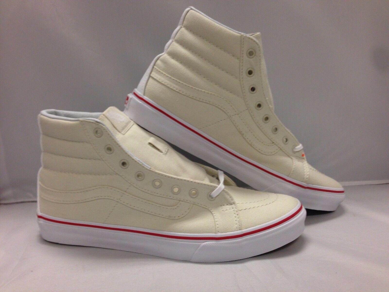 Vans Men's Shoes ''Sk8'Hi Slim''--(Leather Canvas)--Bone/True White
