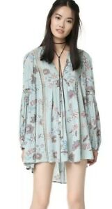 8824bf5e2ccf Free People Just The Two Of Us Printed Floral Lace Inset Tunic Dress ...