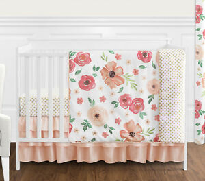 Peach-Green-Shabby-Chic-Watercolor-Floral-Baby-Girl-Bumperless-Crib-Bedding-Set