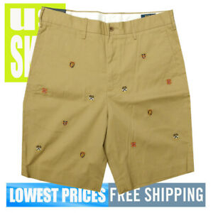 Polo-Ralph-Lauren-Men-039-s-NWT-Luxury-Tan-Crest-Designs-Khaki-Brown-Shorts-SZ-29