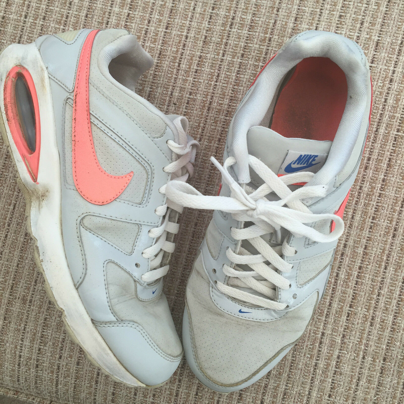 The most popular shoes for men and women NIKE AIR MAX WHITE ORANGE TRAINERS SIZE 7