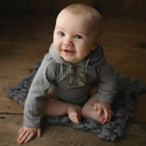 Infant Baby Girl Boy Solid Long Sleeve Romper Hoodie Bodysuit Clothes Outfits